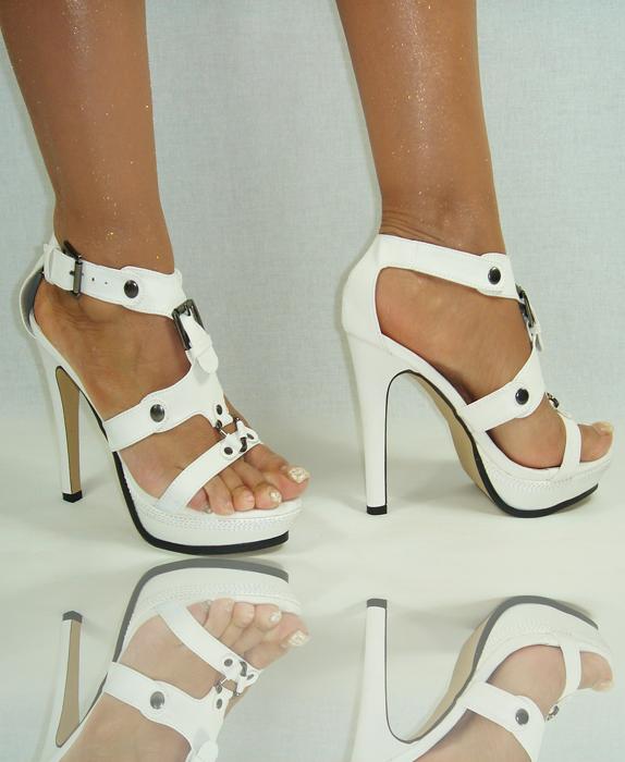 schuhe high heels pumps damenschuhe shoes weiss 9 cm. Black Bedroom Furniture Sets. Home Design Ideas