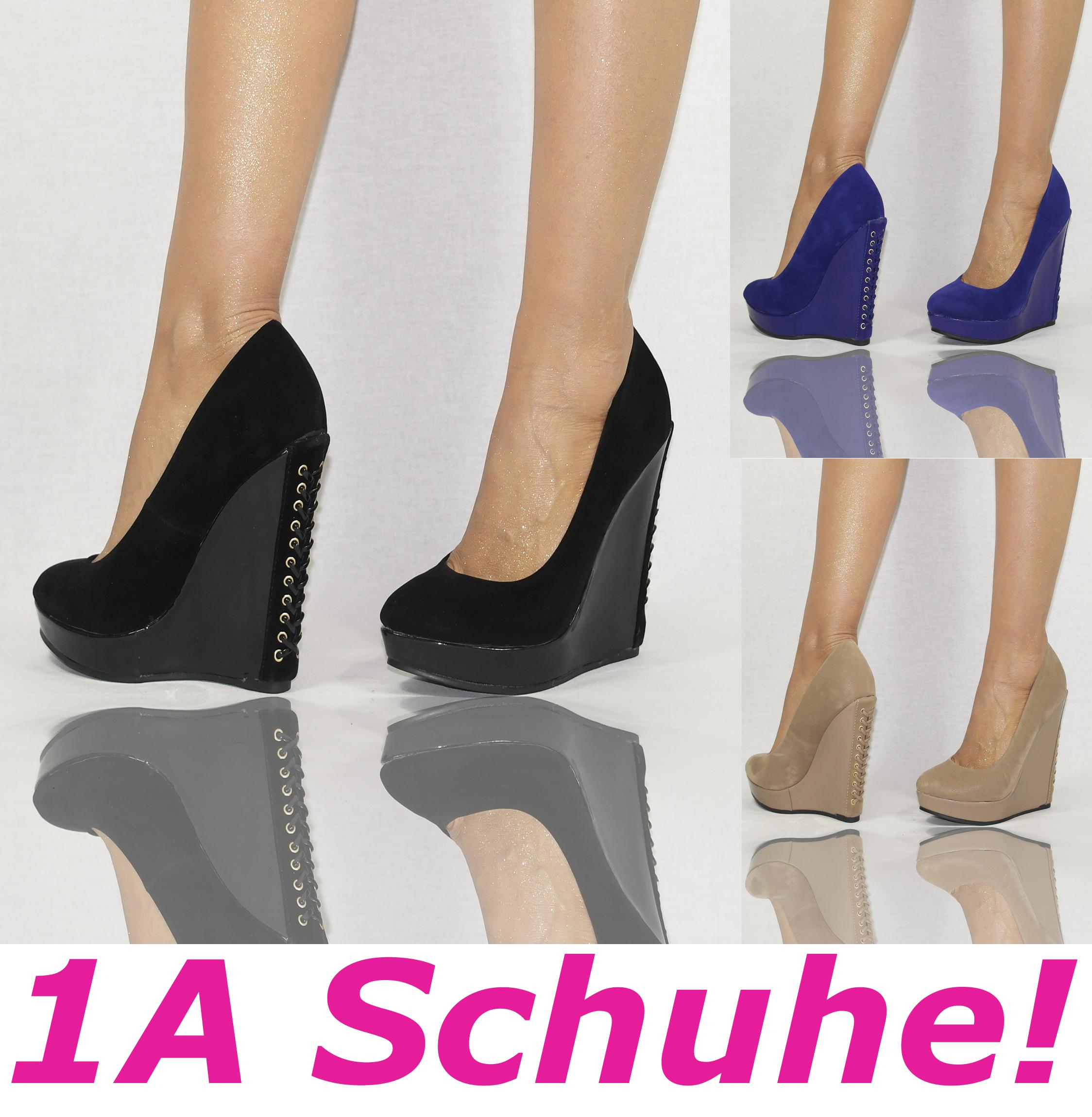 details zu high heels keilabsatz schn r pumps creme b4309. Black Bedroom Furniture Sets. Home Design Ideas